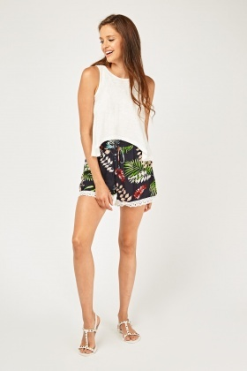 Tropical Palm Printed Shorts