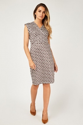 Amber Leaf Printed Wrap Dress