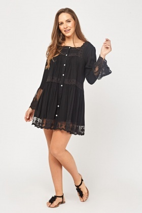 Broderie Mesh Insert Tunic Dress