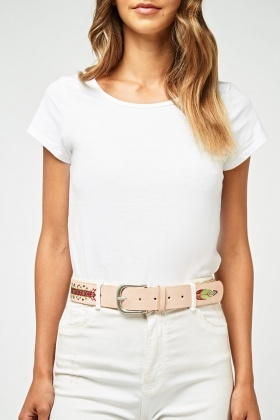 Embroidered Studded Buckle Belt