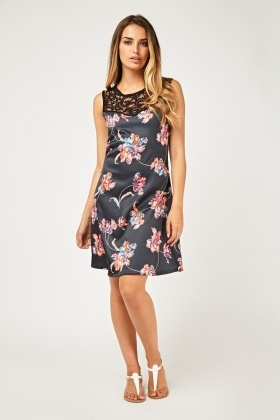 Floral Crochet Contrast A-Line Dress