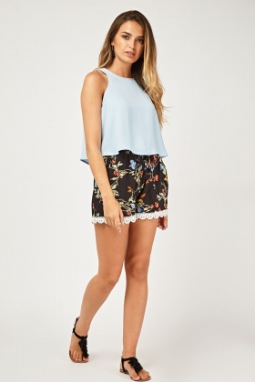 Floral Crochet Trim Shorts