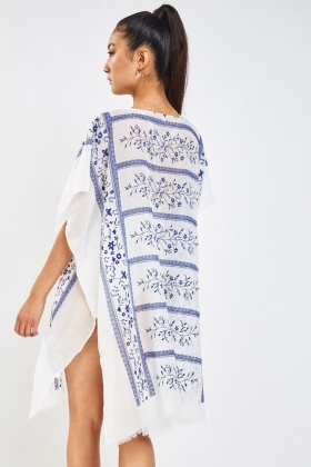 Floral Embroidered Beach Cover Up
