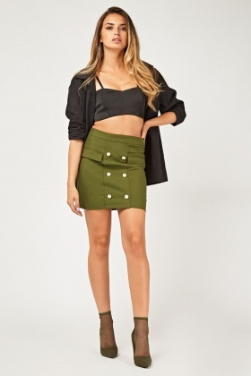 Military Button Trim Mini Skirt