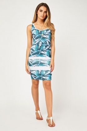 Printed Ribbed Bodycon Dress