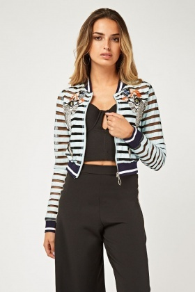 PVC Fish Patch Contrasted Bomber Jacket