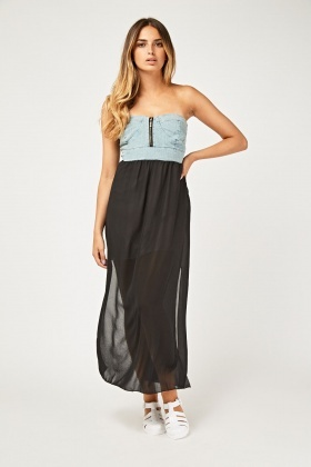 Strapless Denim Sheer Maxi Dress