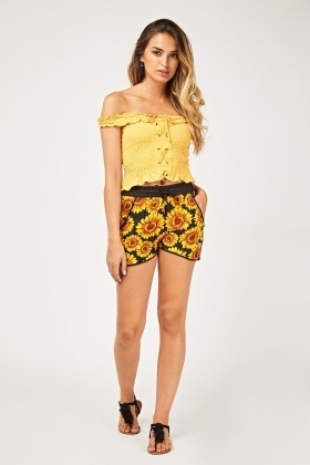 Sunflower Print Casual Shorts