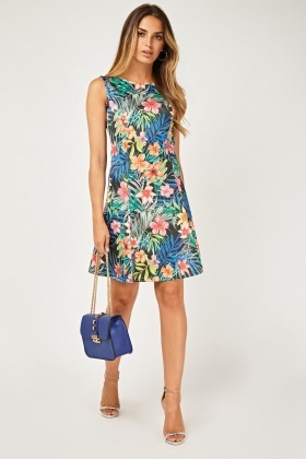 Topical Printed Flared Shift Dress