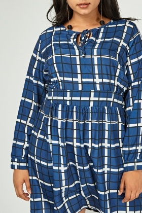 Windowpane Printed Smock Dress