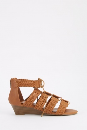 Braided Lace Up Wedge Sandals