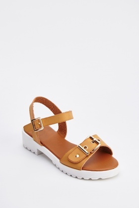 Faux Leather Buckle Strap Sandals