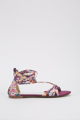 Flower Print Ankle Strap Sandals