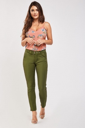 Brocade Trim Side Cigarette Trousers