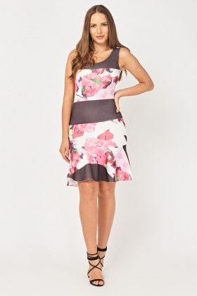 Contrasted Print Frilly Peplum Dress