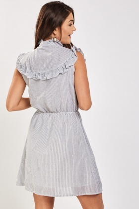 Embroidered Ruffle Trim Striped Dress