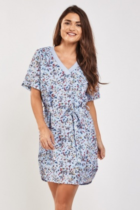 Metallic Rib Trim Printed Tunic Dress