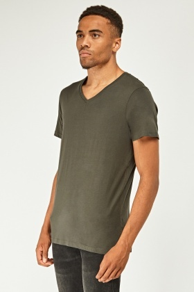Olive Basic V-Neck T-Shirt