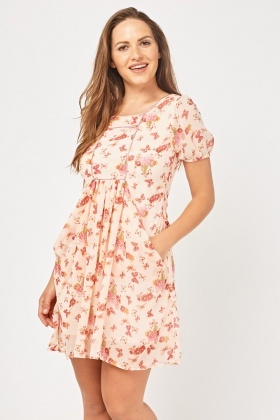 Printed Draped Chiffon Swing Dress