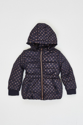 Printed Girls Hooded Puffa Jacket