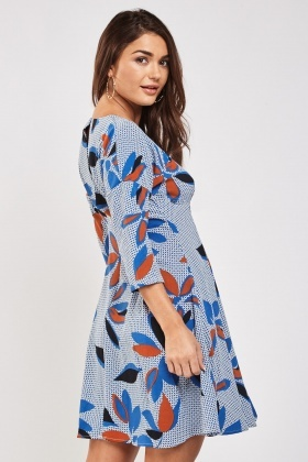Printed Pleated Flared Skater Dress