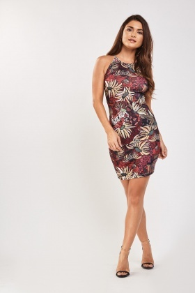 Retro Printed Halter Neck Dress