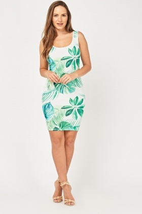Tropical Leaf Print Ribbed Dress