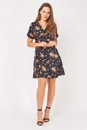 Vintage Floral Printed Tea Dress
