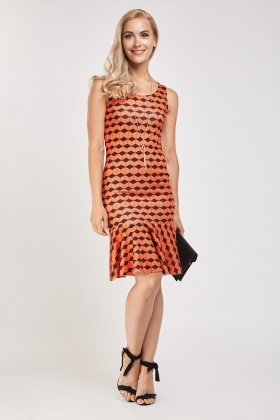 Chevron Print Frill Hem Dress