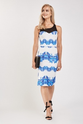 Contrast Sweetheart Printed Dress