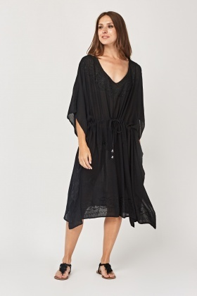 Embroidered Elasticated Tunic Dress