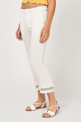 Embroidered Tassel Trim Crop Trousers