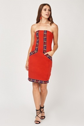 Embroidered Trim Bandeau Dress