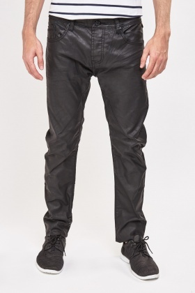 Mens Waxed Black Jeans