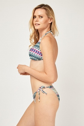 Printed Halter Neck Bikini Set