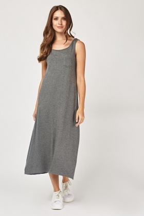 Single Pocket Front Maxi Dress