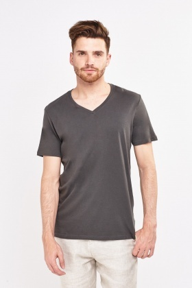 V-Neck Dark Grey T-Shirt