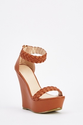 Braided Faux Leather Wedge Sandals