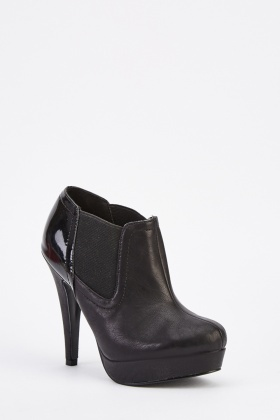 Contrasted Faux Leather Ankle Boots
