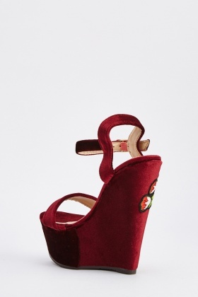 Embroidered Velveteen Wedge Sandals