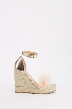Metallic Fluffy Trim Platform Wedges