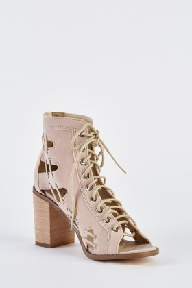 Open Toe Lace Up Suedette Boots