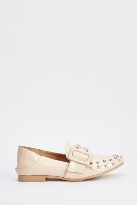 Studded PVC Buckle Trim Loafers