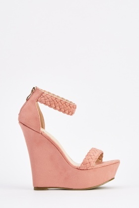 Suedette Twist Plait Wedge Shoes