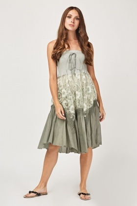 Bandeau Organza Contrasted Midi Dress