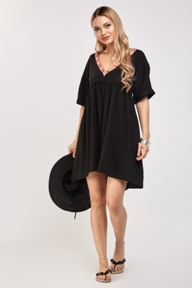 Embroidered Trim Smock Dress