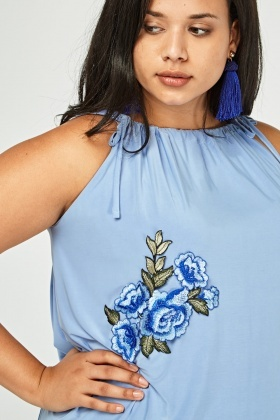 Floral Embroidered Tie Up Top