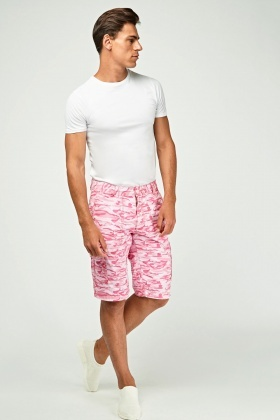 Mens Long Line Camouflage Shorts