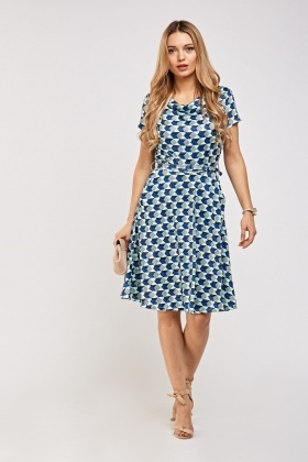 142539dd139 Printed Cowl Neck Skater Dress