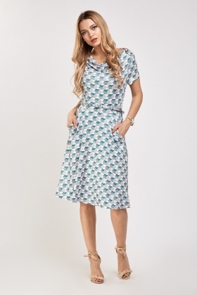 2c0ccd38eed Printed Cowl Neck Skater Dress